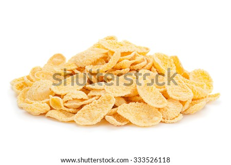 Corn flakes snack isolated on white background - stock photo