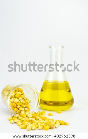 Corn generated ethanol bio-fuel with test tubes on white background-Agriculture concept - stock photo