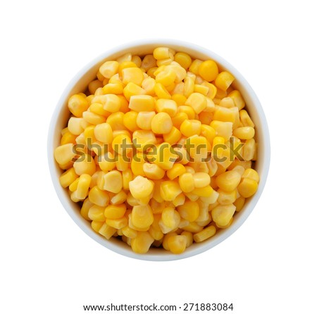 corn in a bowl on a white background - stock photo