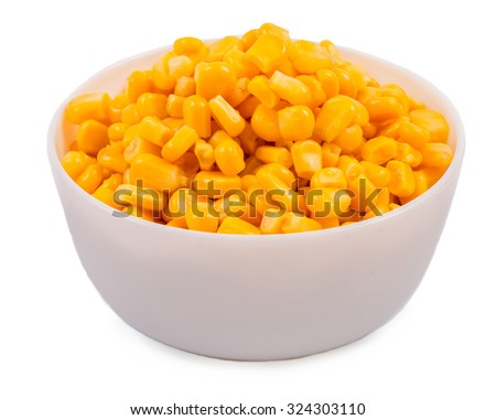 Corn in a plate on a white background - stock photo