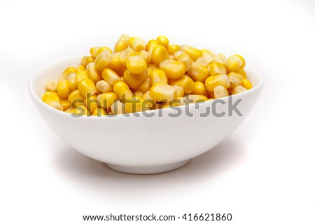 Corn isolated on white background with shadow - stock photo