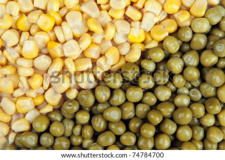 Corn kernels and fresh peas background