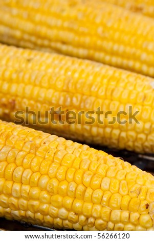 Corn laying on the barbecue