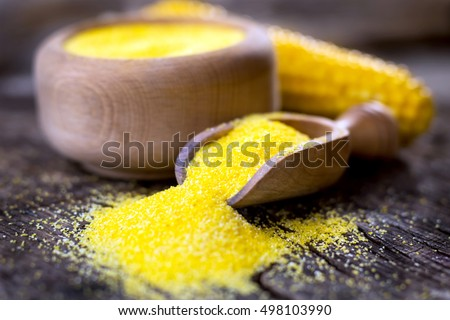 Corn meal or dry polenta on vintage table