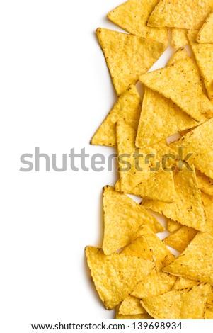 corn nachos on white background - stock photo