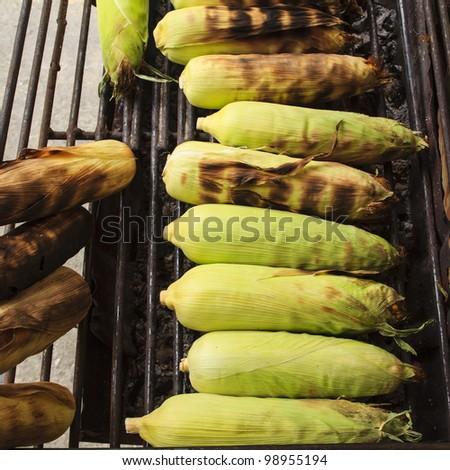 Corn on the Cob grilling on a Grill