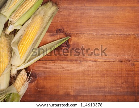 corn on the wooden background
