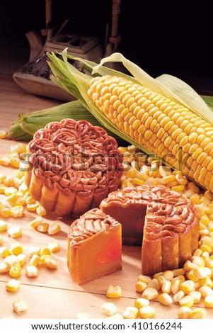Corn paste single yolk moon cake - stock photo
