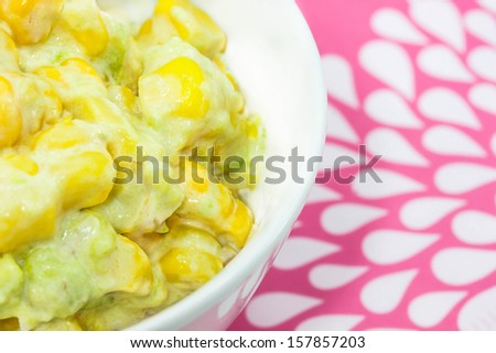 Corn salad with avocado.