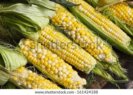 corn sale in market - stock photo