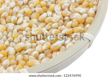 Corn seed in a basket - stock photo