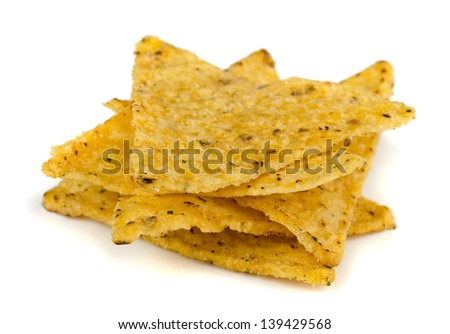 Corn tortilla chips isolated on white