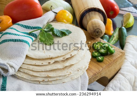 Corn Tortillas with vegetables in the background - stock photo