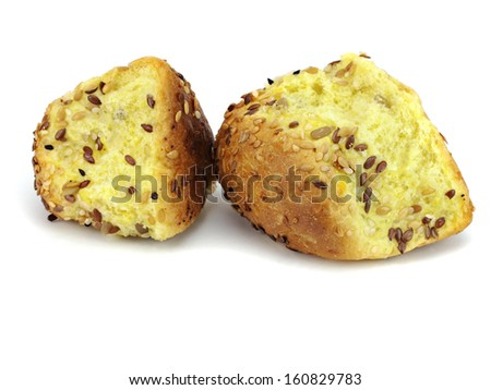 Cornbread on a white background