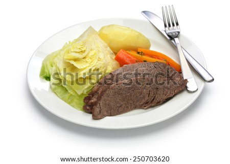 corned beef and cabbage isolated on white background, irish cuisine - stock photo