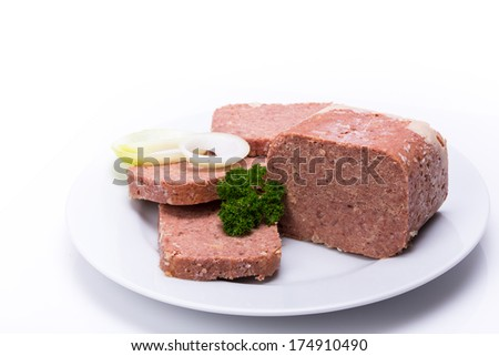 Corned Beef on a white plate - stock photo