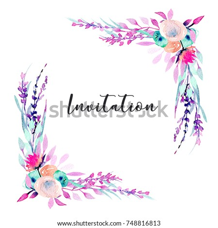 Corner Border Frame With Simple Watercolor Pink Wildflowers And Lavender Hand Painted In On