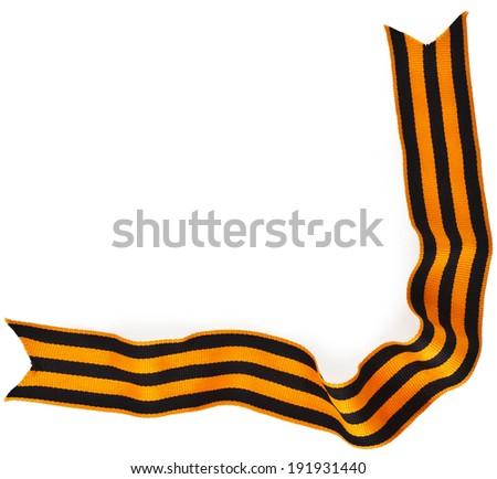 Corner Border of black orange strip bow in the orange bar surface close up isolated on white background  - stock photo