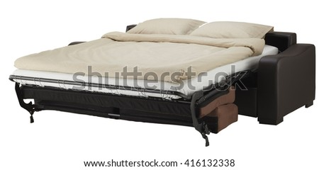 corner couch bed isolated on white include clipping path - stock photo