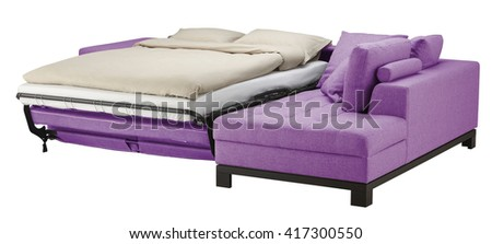 Corner couch bed isolated on white. Include clipping path - stock photo