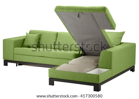 Corner couch bed with storage isolated on white. Include clipping path - stock photo