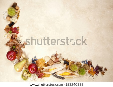 Corner decoration of autumn fruits leaves and nuts on a grunge background