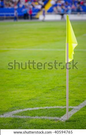 Corner flag on an soccer field - stock photo