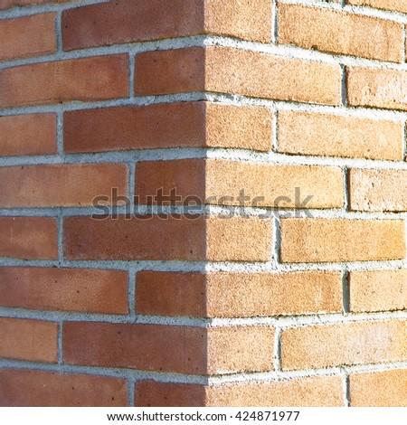Corner of a new brick wall