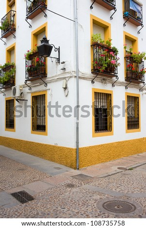 Corner of a traditional Andalusian house in Cordoba, Andalusia, Spain. - stock photo