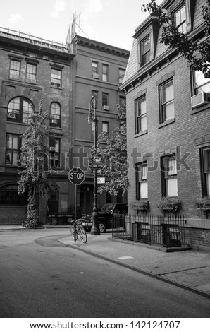 Corner of Commerce and Barrow Street in West Village, New York