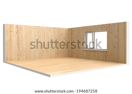 Corner of  empty room with  floor, wall and window - stock photo