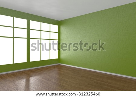 Corner of green empty room with windows and wooden parquet floor, 3D illustration - stock photo