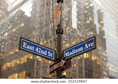 Corner of 42nd and Madison ave in midtown Manhattan, NYC