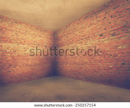 corner of old dirty room with brick wall, empty room , retro filtered, instagram style - stock photo