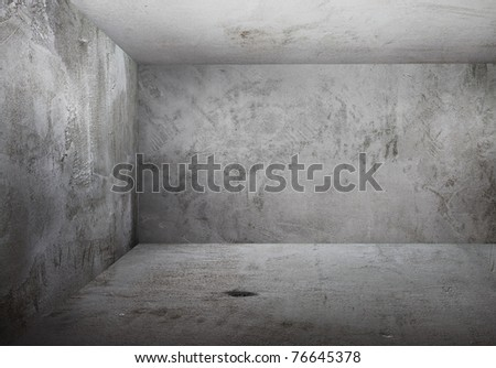 corner of old grunge room, gray walls