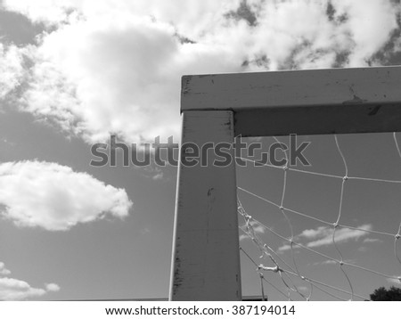 Corner of Soccer Goal In Black and White - stock photo
