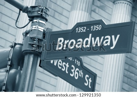 Corner of the Broadway and West 36th Street sign, New York City. - stock photo
