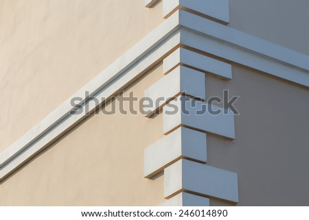 corner of the building with decoration - stock photo