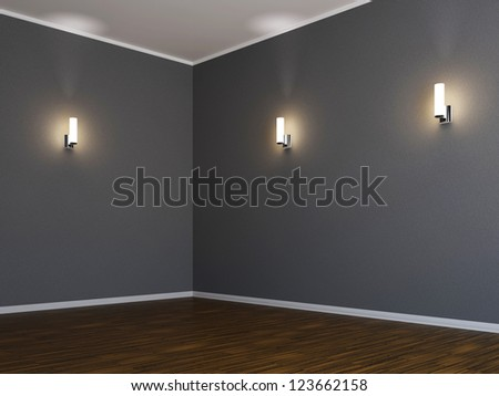 Corner of the room with three lamps - stock photo