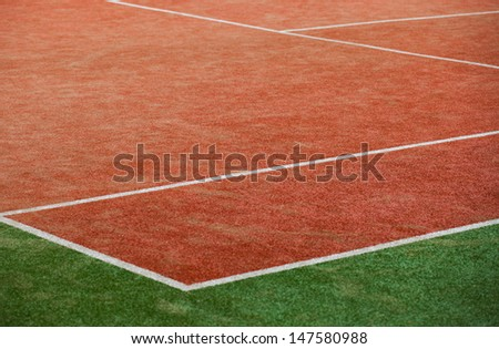 Corner of the tennis field with copy space. - stock photo