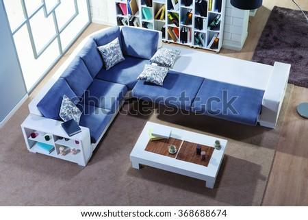 Corner sofa open top view  - stock photo