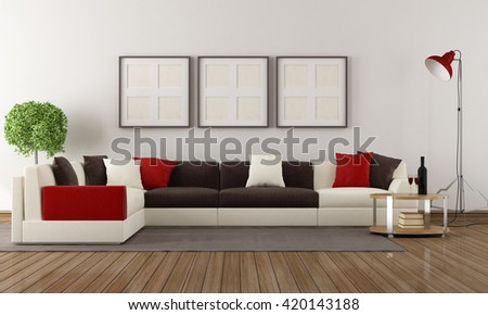 Corner sofa with colorful pillows in a modern living room-3d rendering - stock photo