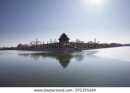 Corner turret of the Forbidden City,landmark of Beijing City - stock photo