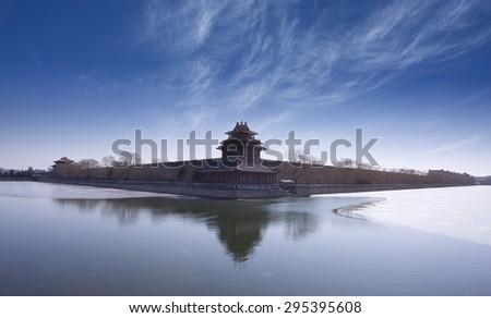 Corner turret of the Forbidden City,landmark of Beijing City,China - stock photo