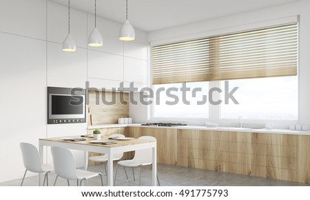 Corner view of kitchen interior with working surface, family dining table and counter. Concept of family gathering. 3d rendering. Mock up. Toned image