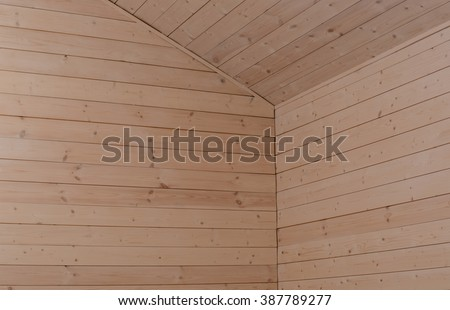 Corner wood board wall and ceiling in house