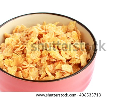 Cornflakes in bowl closeup