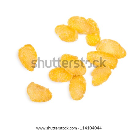 cornflakes isolated on white - stock photo