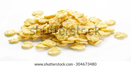 Cornflakes on a white background.
