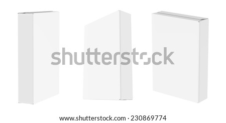 Cornflakes Snack package , muesli, cereals etc. white blank set in perspective. Isolated on white background. Easy editable for your design.  - stock photo